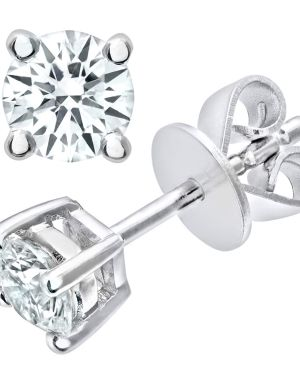 18CT WHITE GOLD 0.50CT DIAMOND SOLITAIRE EARRINGS