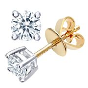 18CT YELLOW GOLD 0.50CT DIAMOND SOLITAIRE EARRINGS