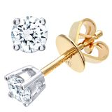 18CT YELLOW GOLD 0.33CT DIAMOND SOLITAIRE EARRINGS
