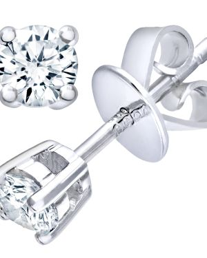18CT WHITE GOLD 0.25CT DIAMOND SOLITAIRE EARRINGS