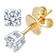 18CT YELLOW GOLD 0.25CT DIAMOND SOLITAIRE EARRINGS
