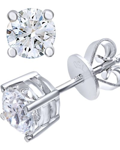 18CT WHITE GOLD 0.75CT DIAMOND SOLITAIRE EARRINGS