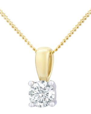 18CT YELLOW GOLD 0.50CT DIAMOND SOLITAIRE PENDANT