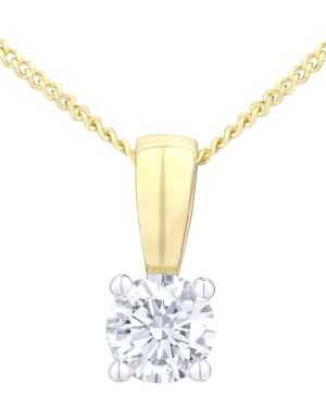 18CT YELLOW GOLD 0.25CT DIAMOND SOLITAIRE PENDANT