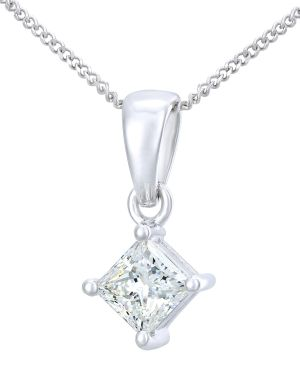 18CT WHITE GOLD 0.50CT DIAMOND PRINCESS CUT PENDANT