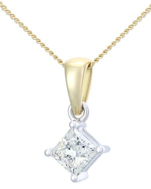 18CT YELLOW GOLD 0.50CT DIAMOND PRINCESS CUT PENDANT