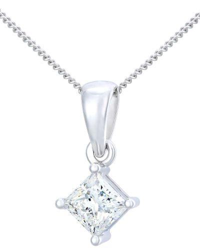 18CT WHITE GOLD 0.75CT DIAMOND PRINCESS CUT PENDANT