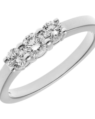 18CT WHITE GOLD 0.50CT DIAMOND 3 STONE RING