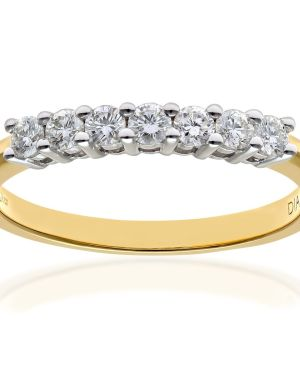 18CT YELLOW GOLD 0.33CT DIAMOND 7 STONE 1/2 ETERNITY RING