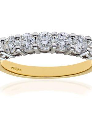 18CT YELLOW GOLD 1.00CT DIAMOND 7 STONE 1/2 ETERNITY RING
