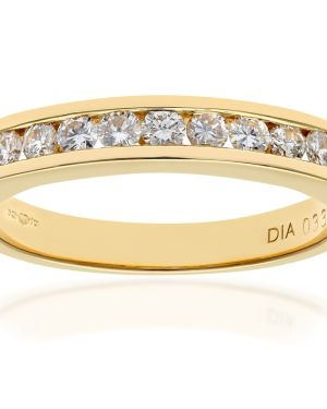 18CT YELLOW GOLD 0.33CT DIAMOND 9 STONE CHANNEL SET 1/2 ETERNITY RING