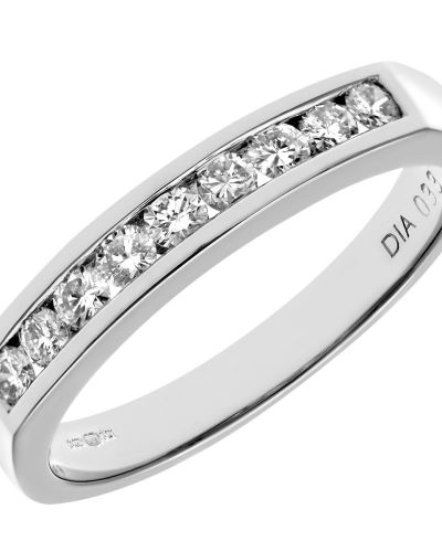 18CT WHITE GOLD 0.33CT DIAMOND 9 STONE CHANNEL SET 1/2 ETERNITY RING
