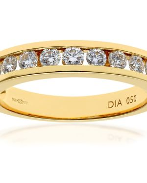 18CT YELLOW GOLD 0.50CT DIAMOND 9 STONE CHANNEL SET 1/2 ETERNITY RING