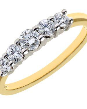 18CT YELLOW GOLD 0.50CT DIAMOND 5 STONE GRADUATE  ETERNITY RING