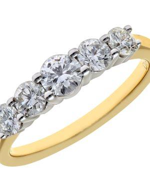 18CT YELLOW GOLD 1.00CT DIAMOND 5 STONE GRADUATE ETERNITY RING