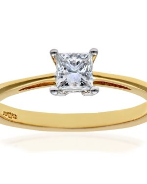 18CT YELLOW GOLD 0.33CT DIAMOND PRINCESS CUT RING