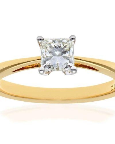 18CT YELLOW GOLD 0.50CT DIAMOND PRINCESS CUT RING