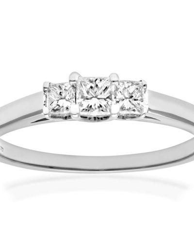 18CT WHITE GOLD 0.33CT DIAMOND PRINCESS CUT 3 STONE RING