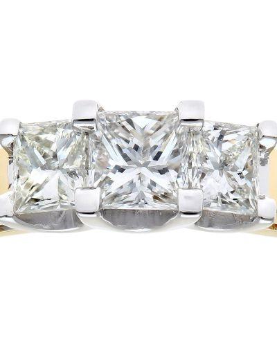 18CT YELLOW GOLD 0.75CT DIAMOND PRINCESS CUT 3 STONE RING