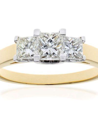 18CT YELLOW GOLD 1.00CT DIAMOND PRINCESS CUT 3 STONE RING