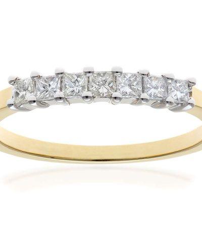 18CT YELLOW GOLD 0.33CT DIAMOND PRINCESS CUT 7 STONE 1/2 ETERNITY RING