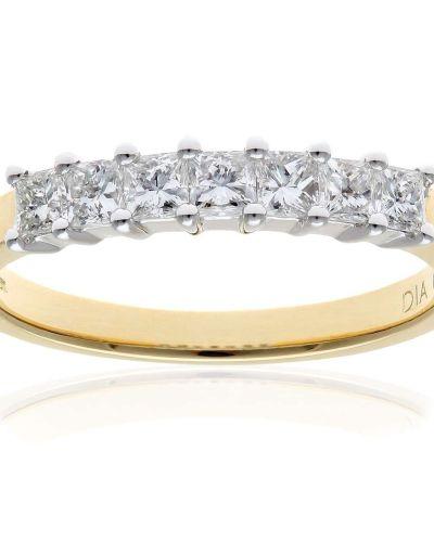 18CT YELLOW GOLD 0.50CT DIAMOND PRINCESS CUT 7 STONE 1/2 ETERNITY RING