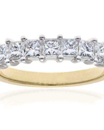 18CT YELLOW GOLD 1.00CT DIAMOND PRINCESS CUT 7 STONE 1/2 ETERNITY RING